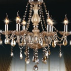 Conca DIY European Style Chandelier Crystal Ceiling Lamp Holder w/ 6 x E14 Connectors - Cognac Color
