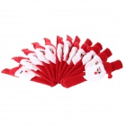 Christmas Santa Claus Style Ring Decoration - Red  + White (12 PCS)