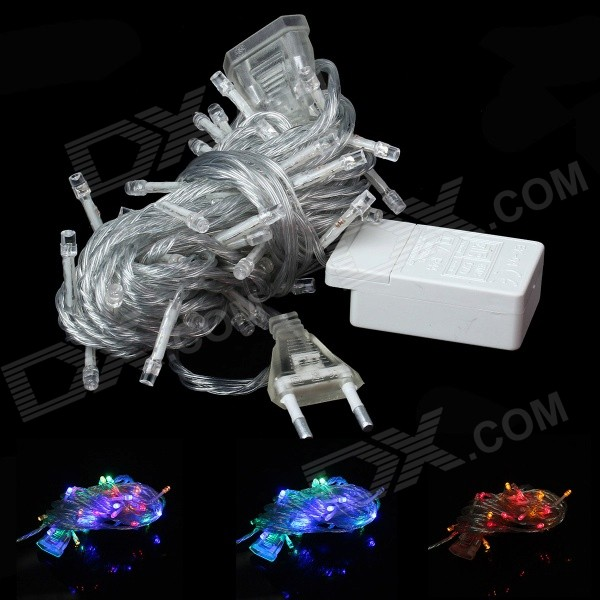 EU Plug 3W Christmas Flash 50-LED RGB Light Lamp String - Transparent (10M / 220V) 10m 100 led 110v 8 mode fancy ball lights decorative christmas party festival twinkle string lamp strip rgb us plug