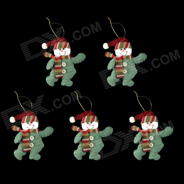 smkj-cute-christmas-snowman-dolls-decorations-deep-green-purplish-red-multi-color-5-pcs