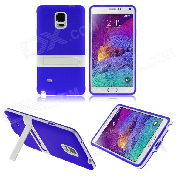 ENKAY Protective TPU Back Case Stand for Samsung Galaxy Note 4 N9100 - Blue + White 2 in 1 detachable protective tpu pc back case cover for samsung galaxy note 4 black