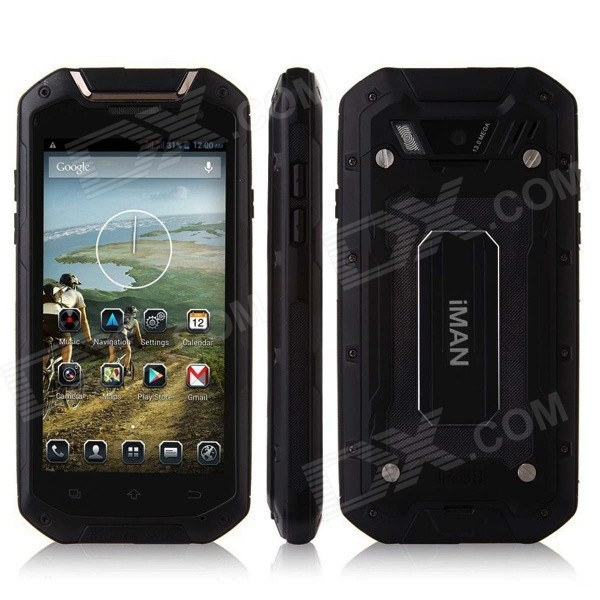 iMAN V12 Android 4.2 Quad Core Waterproof Dust-proof Shockproof 3G Smartphone w/ 4.5, 8GB ROM, GPS - DXAndroid Phones<br>Color Black RAM 1GB Internal Storage 8GB Brand Othersiman Model V12 Quantity 1 Piece Material Plastic Shade Of Color Black Type Brand New Plug Specifications EU Plug (2-Round-Pin Plug) Housing Case Material Plastic Released Time 2014 Cellular WCDMAGSM Network Type 2G3G Band Details (2G): GSM 850/900/1800/1900MHz  (3G): WCDMA 900/2100MHz Data Transfer GPRS Network Conversation One-Party Conversation Only WLAN Wi-Fi 802.11 bgn SIM Card Type Standard SIM Card Quantity 2 Network Standby Dual Network Standby GPS Yes NFC No Infrared Port No Bluetooth Version V2.1 OS Android Firmware Version 4.2.1 CPU Processor MTK6589T CPU Core Quantity Quad-Core Language EnglishRussianGermanFrenchSpanishPolishPortugueseItalianTurkishNorwegian GPU powerVR SGX 544MP Available Memory 5.3GB Memory Card TF Max. Expansion Supported 32GB Size Range 4.5-4.9 Inches Touch Screen Capacitive Screen Screen Resolution 1280 x 720 Multitouch 5 Screen Size ( inches) 4.5 Main Camera Lens Features SONY-9EY17 Camera Pixel 8.0MP Front Camera Pixels 2.0 MP Video Recording Resolution 720 x 960 Flash Yes Auto Focus YES Touch Focus Yes Talk Time 4 Hour Standby Time 48 Hour Battery Capacity 2500 mAh Battery Type Replacement Sensor G-sensorproximitycompassAccelerometer Waterproof Level OthersIP68 Dust-proof Level IP68 Shock-proof Yes I/O Interface Micro USB3.5mm USB microUSB v2.0 Software GPS NavigationEmailFM RadioMP3 PlaybackTouchscreenBluetoothWi-FiMemory Card SlotsVideo PlayerGravity ResponseFront CameraDustproofMessageGPRS Format Supported MP3  AAC  WAVMPEG  3GP  MP4  AVI  MOV  RMVB  H.263  H.264  ASF JAVA No WLAN Features Wi-Fi hotspot TV Tuner No Radio Tuner FM Wireless Charging No Packing List 1 x Phone 1 x Battery 1 x USB (90cm) 1 x AC Charger (100-240V EU plug) 1 x Earphone (90cm) 1 x English User Manual<br>