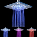8 Inch LED RGB Color Changing Square Chrome-plated Shower Head - Silver