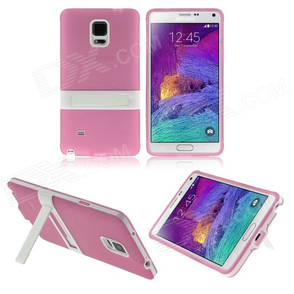 ENKAY Protective TPU Back Case Stand for Samsung Galaxy Note 4 N9100 - Pink + White 2 in 1 detachable protective tpu pc back case cover for samsung galaxy note 4 black