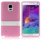 ENKAY Protective TPU Back Case Stand for Samsung Galaxy Note 4 N9100 - Pink + White