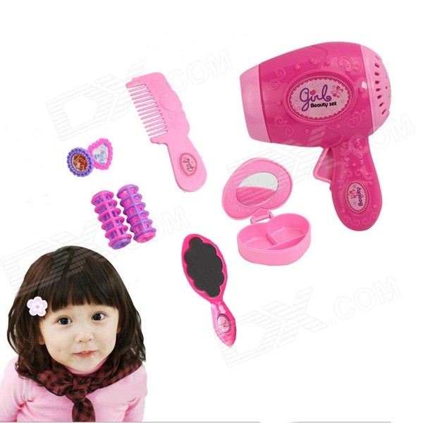 JinNi Girl's Electric Light and Music Hair Dryer + Combs + Mirror + Earrings + Curls Makeup Toys Set stylish feather shape tie clip
