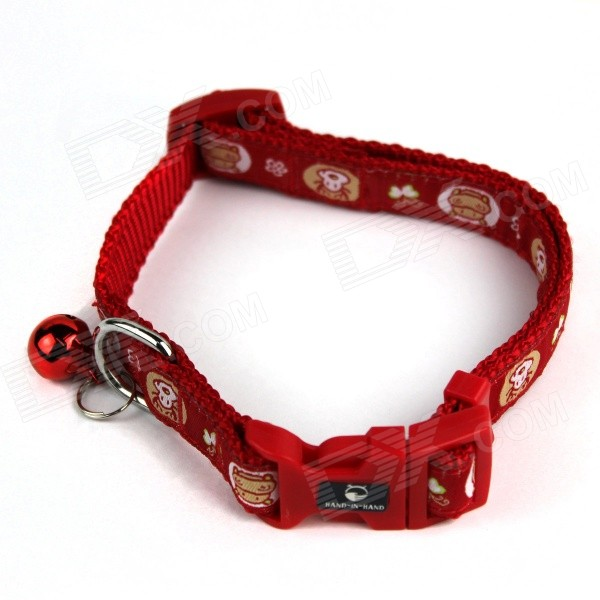 Adjustable Canvas Collar w/ Bell for Pet Cat / Dog - Red (43cm)