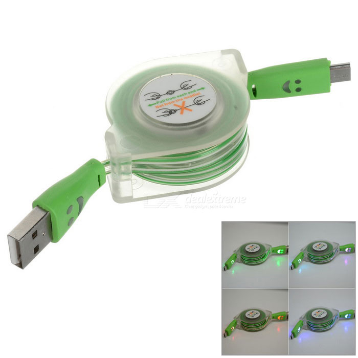 Retractable RGB Light Smile Micro USB Data Sync + Charging Flat Cable for Samsung S3 / S4 - Green retractable usb charging cable for nokia 9500 communicator 8800 8600 luna more 70cm