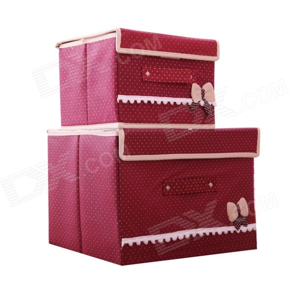 Korean Bow Style Foldable Non-woven Fabric Storage Box Set - Red (2 PCS)