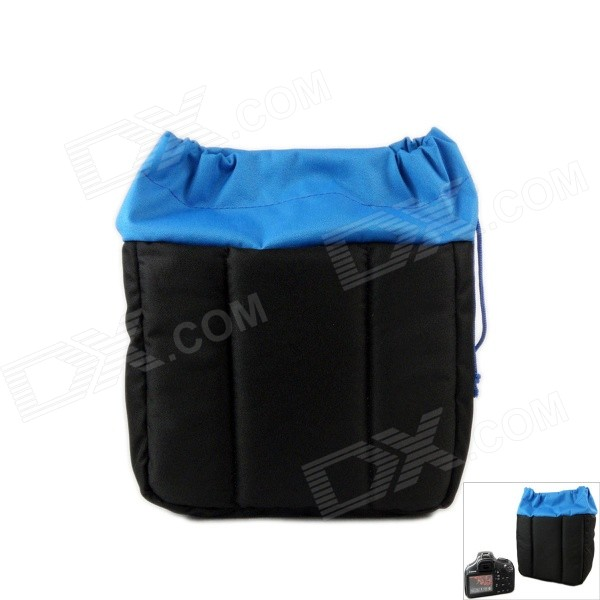 Shockproof Water-resistant Nylon Sleeves Bag for DSLR Camera - Black + Blue (22 x 12 x 20cm) universal nylon cell phone holster blue black size l