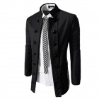 700-X47 Casual Blend Cotton Double Breasted Stand Collar Slim Suit for Men - Black (XL)