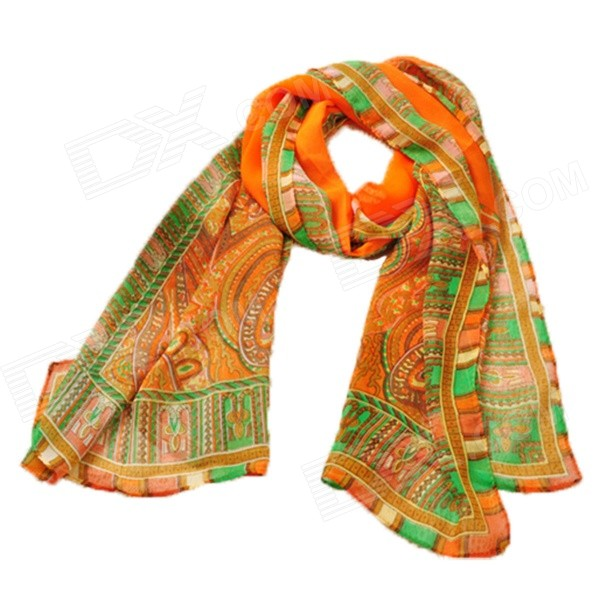 X0044 Women's Bohemian Style Paisley Printed Chiffon Scarf - Orange skull pattern fashion chiffon scarf shawl orange