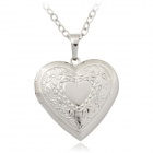 U7 P197B Fashionable Heart Shaped Gold-Plated Copper Photo Case Pendant Necklace - Silver