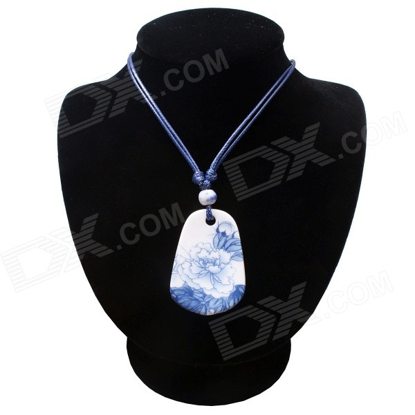 G.ERIMON CTXL0035 Classic Wax Cord Rectangle Peony Pattern Ceramic Necklace - Blue + White