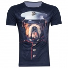 XINGLONG 3D Dog Padrão uniforme de poliéster de manga curta T-shirt - Deep Blue + Multicolor (L)