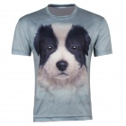 XINGLONG Men's 3D Printing Dog Head Pattern Polyester Short-sleeved T-shirt - Greyish Green (M)
