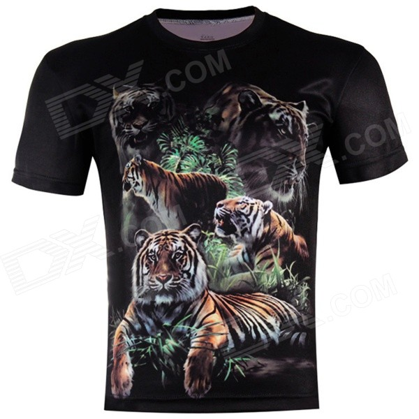 XINGLONG 3D Jungle Tigers Pattern Polyester Short Sleeves T-shirt - Black + Multicolor (XL)