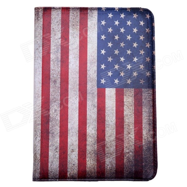 US National Flag Style 360 Degree Rotation PU Leather Case for IPAD MINI 3 - Blue + Red retro uk national flag style pu leather case w auto sleep for ipad 2 3 4 red white blue