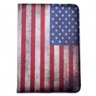 US National Flag Design 360 Grad Drehung PU Ledertasche für iPad Mini 3 - Blau + Rot