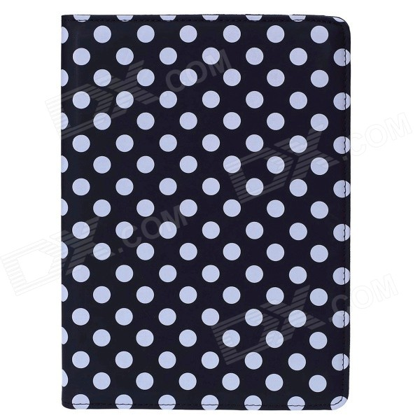 Polka Dot 360 Degree Rotating PU Leather Case w/ Stand + Auto Sleep for IPAD AIR 2 - Black + White