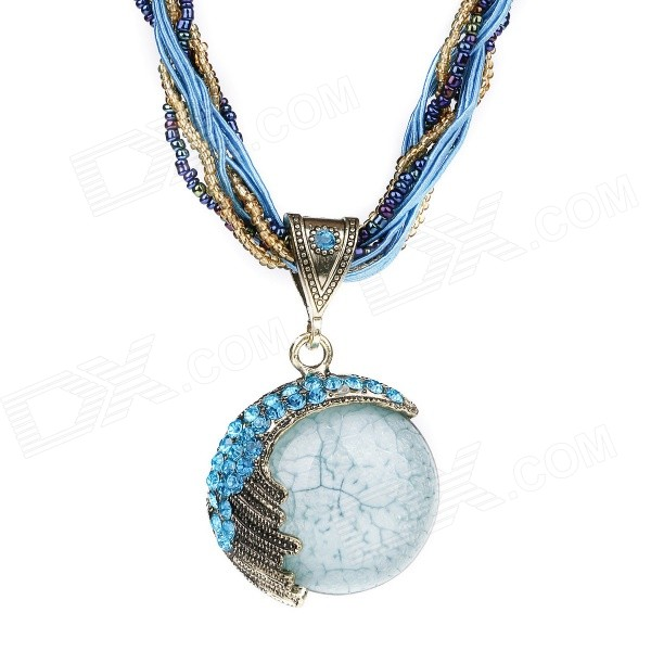 eQute PPEW39C5 Bohemian Style Shiny Alloy Chain Rhinestones Studded Resin Pendant Necklace - Blue resin assembly kits 1 9 200mm police girl 200mm unpainted kit resin model free shipping