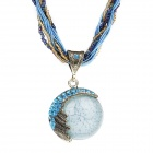 eQute PPEW39C5 Bohemian Style Shiny Alloy Chain Rhinestones Studded Resin Pendant Necklace - Blue