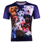XINGLONG 3D Printing Lovely Pet Dogs Polyester Short Sleeves T-shirt - Deep Purple + Multicolor (L)