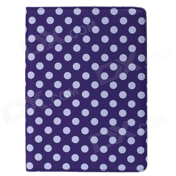 Polka Dot 360 Degree Rotating PU Leather Case w/ Stand + Auto Sleep for IPAD AIR 2 - Purple + White крючок 3 см fbs universal хром uni 001