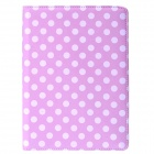 Polka Dot 360 Degree Rotating PU Leather Case w/ Stand + Auto Sleep for IPAD AIR 2 - Pink + White