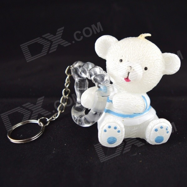 FEIS CX813A6BB3AF2 Cute Bear Shaped Candle & Keychain - White + Light Blue датчик скорости для велосипеда brand new 2015 bogeer yt 813 yt 813