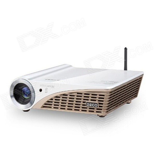 Zeco CX6 DLP HD Smart Mini Home 3D Projector w/ HDMI / USB / VGA / TF / Wi-Fi - White + Yellow