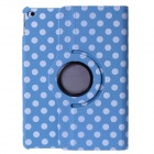 Polka Dot 360 Degree Rotating PU Leather Case w/ Stand + Auto Sleep for IPAD AIR 2 - Blue + White