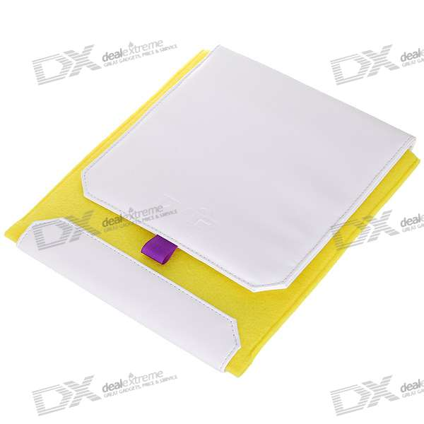 Stylish Protective Soft Leather Case for Ipad - Yellow + White