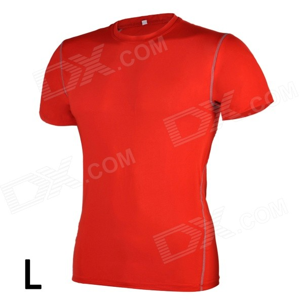 1987114 Outdoor Sports Polyester + Spandex Tight Short-Sleeve T-shirt for Men - Red (L)
