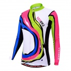 VEOBIKE Women's Cycling Long Sleeves Zippered Jersey Top - White + Multicolored (L)