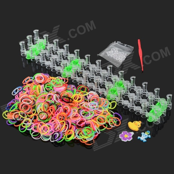 DIY Looms Elastic Silicone Rainbow Bands + S Hook Set for Children - Red + Multi-Color pdr hook tool set b4