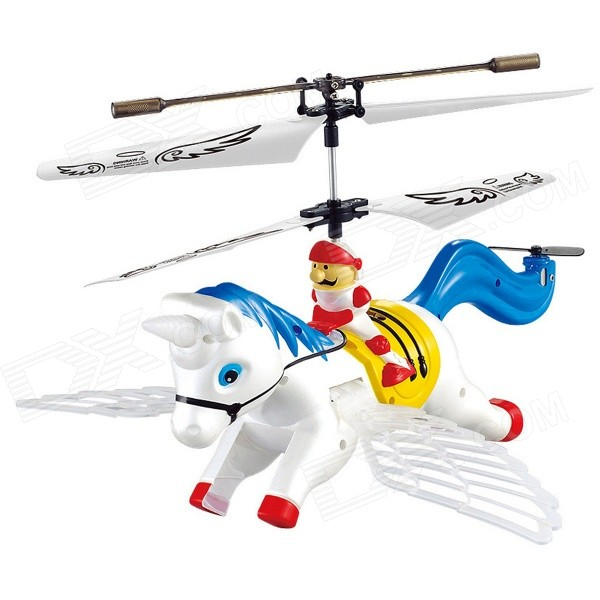 Syma S2 3.5-CH Horse Style IR Remote R/C Helicopter w/ Gyro / Lamp - Blue + White (4 x AA)