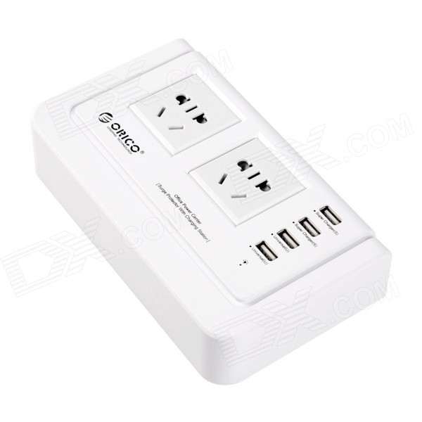 ORICO OPC-2A4U-WH 4 Ports USB Charger w/ 2 x 3-pin + 2 x US Power Socket - White (3-pin Plug) fonemax x power cactus car charger w 3 port usb