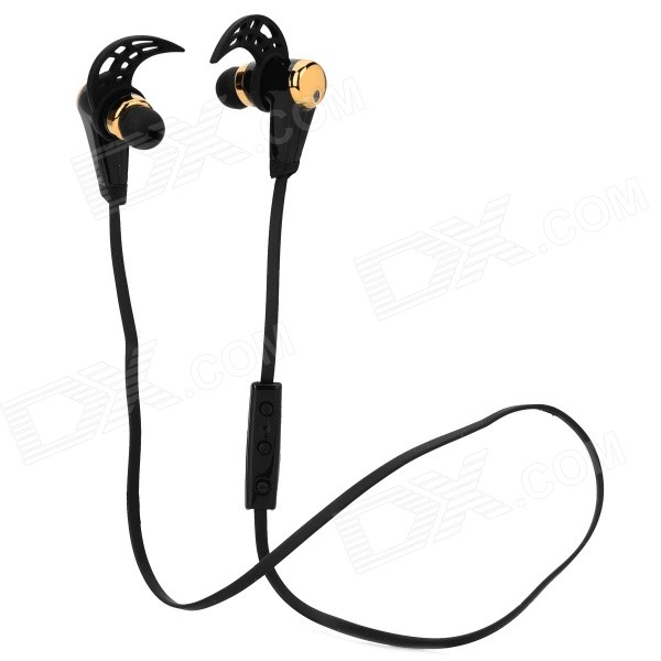 HV805 Wireless Stereo Bluetooth In-Ear Headphone w/ Mic - Black+Golden