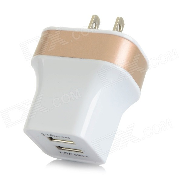 Z03 Smart Fast Charge Dual USB Adapter Charger - White + Champagne (AC 100~240V / US Plug)