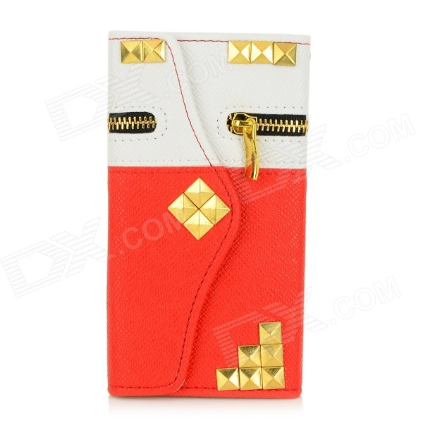 Rivets Patterned Zippered PU Leather Full Body Case w/ Money / Card Slot for IPHONE 6 - White + Red metal chain handbag style pu tpu full body case w card slot for iphone 6 4 7 gold