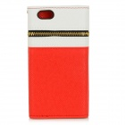 Rivets Patterned Zippered PU Leather Full Body Case w/ Money / Card Slot for IPHONE 6 - White + Red