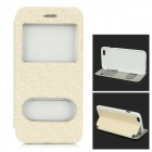 Maze Patterned Protective PU Leather Full Body Case w/ View Window / Stand for IPHONE 6 - Beige