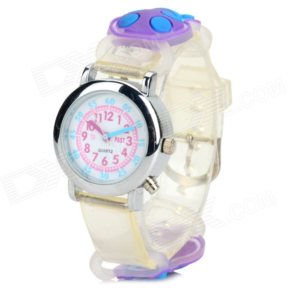 Children's Silicone Band Analog Quartz LED Watch - Translucent Purple (1 x 377)