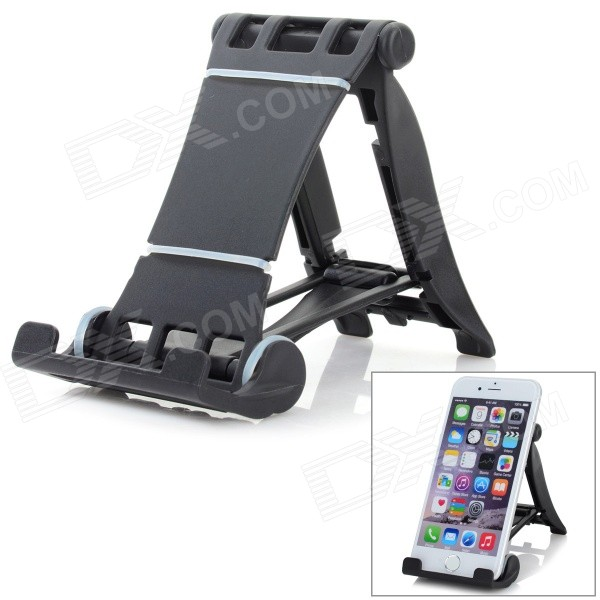 Universal 90' Rotary ABS Desktop Holder for IPHONE / IPAD / Cellphone / Tablet PC - Black