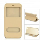 IP-6 Latticed Flip-Open PU Leather Case w/ Dual View Windows / Stand for IPHONE 6 PLUS - Gold