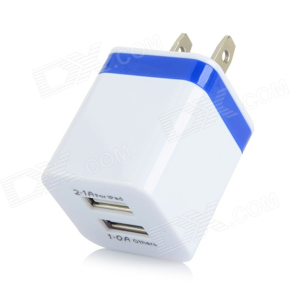 JBL-1309 Smart Fast Charge Dual USB Adapter Charger - White + Blue (AC 100~240V / US Plug) colorful feather pattern protective plastic case for iphone 5
