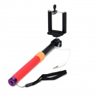 Universal Aluminum Alloy + Silicone Selfie Retractable Monopod w/ Phone Holder - Red + Black