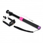 Universal Aluminum Alloy + Silicone Selfie Retractable Monopod w/ Phone Holder - Black + Deep Pink