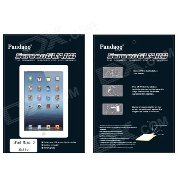Pandaoo PET Matte Screen Guard Protector w/ Cleaning Cloth for IPAD MINI 3 - Transparent